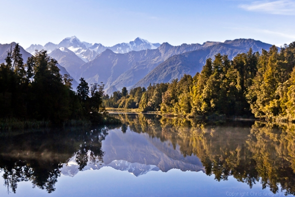 Mirror view of Souther Alps on Lake Matheson