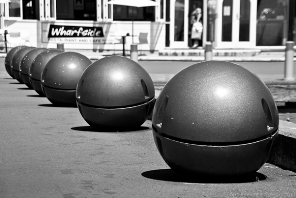 Grey light balls Wellington waterfront New Zealand