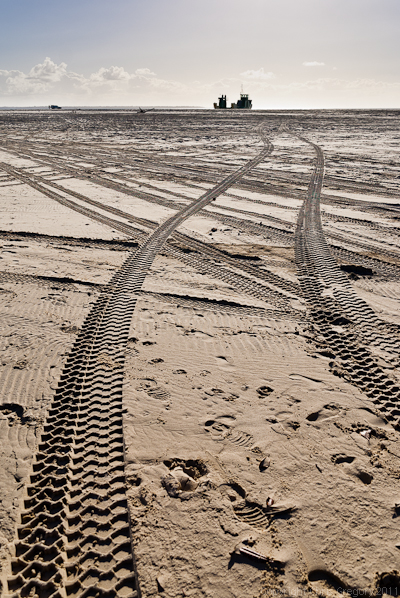 Tracks to Fraser Island ferry at Inskip Point, Queensland, Australia