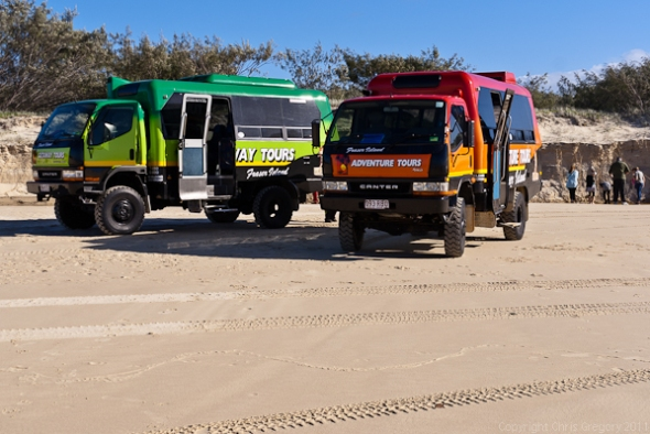 4WD Tour Trucks - Fraser Island, Queensland, Australia