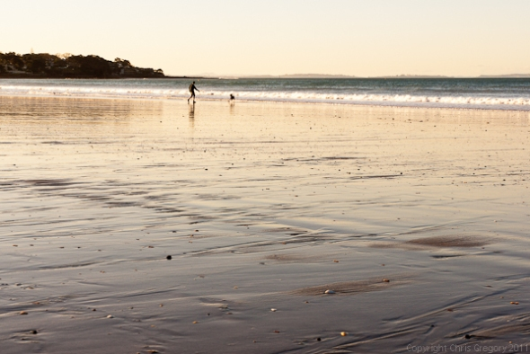 Evening light on Takapuna Beach, Auckland, New Zealand