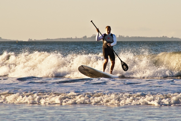 Riding the last wave before dinner - Takapuna Beach, Auckland, New Zealand