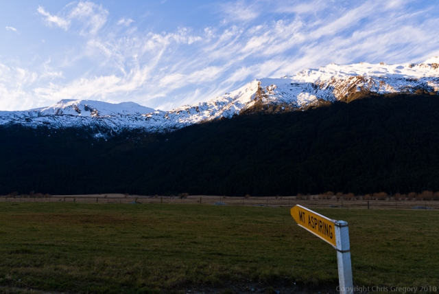 Mt Aspiring sign, Mt Aspiring National Park, Otago, New Zealand, Copyright Chris Gregory 2011
