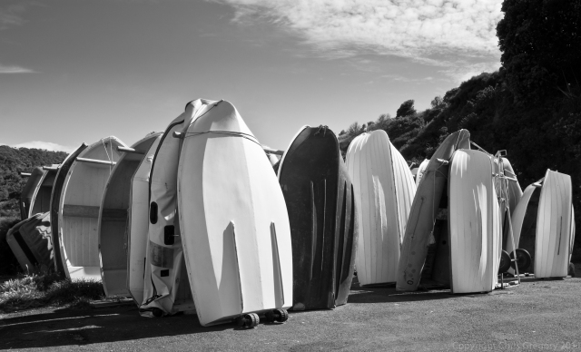 Dinghy Stack, Matiatia Wharf, Waiheke Island, Auckland, New Zealand, Copyright Chris Gregory 2011