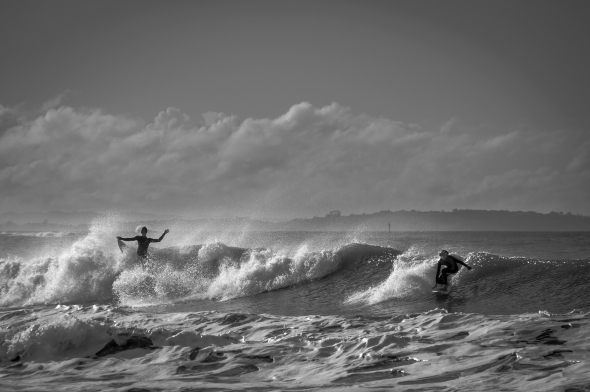 Surf, Takapuna Beach, North Shore, Auckland, New Zealand, B&W, Copyright Chris Gregory 2012