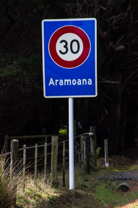 Aramoana Road Sign, Otago, New Zealand, Copyright Chris Gregory 2012