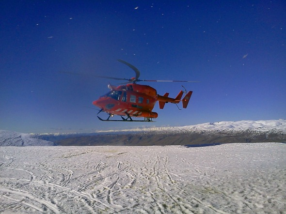Rescue Helicopter, Cardrona Resort Ski Field, Otrago, New Zealand, Copyright Chris Gregory 2012