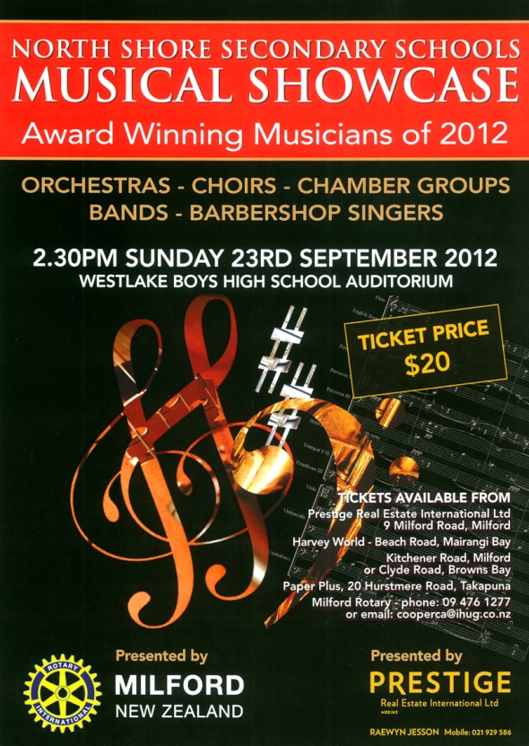 Rotary Club of Milford, Auckland, New Zealand, Musical Showcase Poster 2012