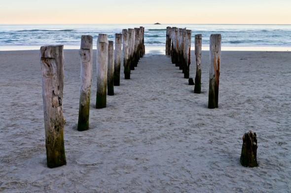 Poles Apart, Sand Control Poles, St Clair Beach, Dunedin, Otago, New Zealand, Copyright Chris Gregory 2012