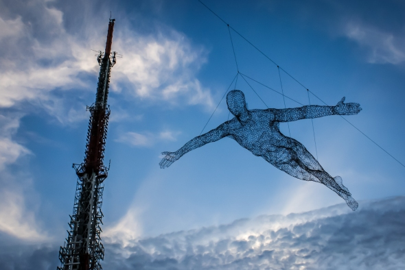 Superman, Flying Free, Wireform Sculpture, Namsam Tower, Seoul, South Korea, Copyright Chris Gregory 2012