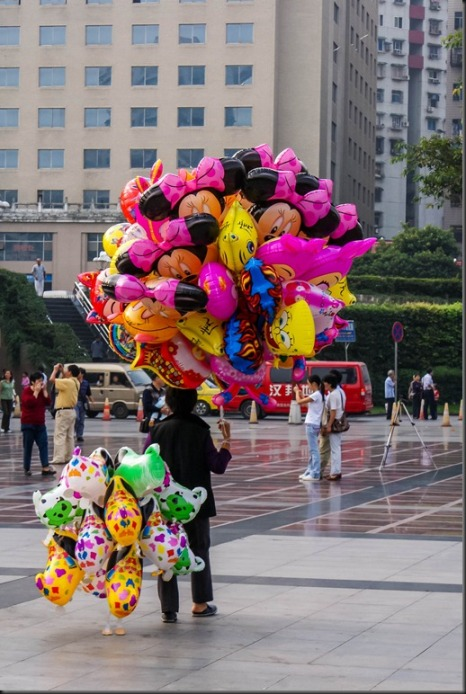 Balloon Lady, Chongquing, China, Copyright Chris Gregory 2008