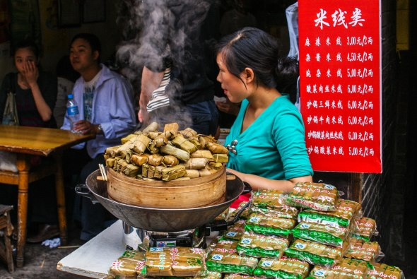 Food Parcels, Bamboo Leaf, Street Vendor, Old Chongqing, China, Copyright Chris Gregory 2008