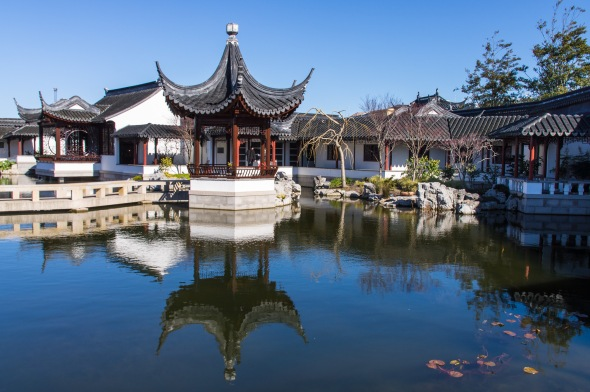 Pavilion and Pond, Chinese Garden, Dunedin, Otago, New Zealand, Copyright Chris Gregory 2012