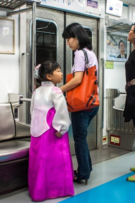 Chuseok Girl, Metro Train, Seoul, South Korea, Copyright Chris Gregory 2008