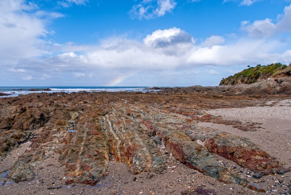 Red Granite, Blue Sky, Catlins Coast, Southland. New Zealand, Copyright Chris Gregory 2012