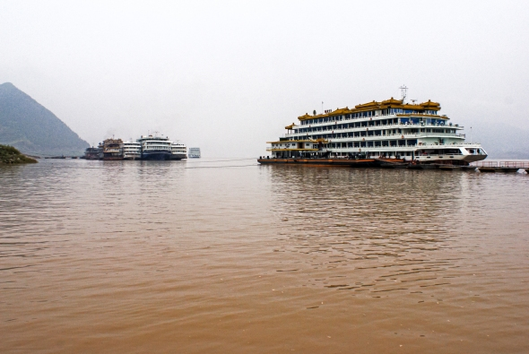 Yangtze Cruise Ships, Fengdu, China, Copyright Chris Gregory 2013