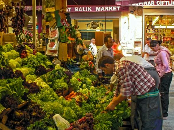 Presenting, Vegetable Vendor, Istanbul Street Market, Turkey, Copyright Chris Gregory 2013