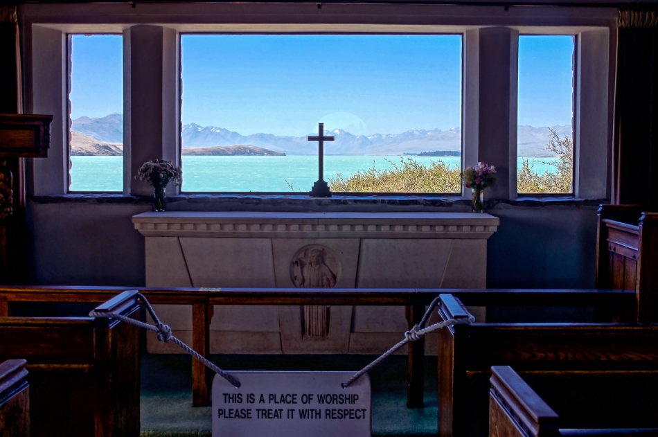 Dog and Church, Tekapo, New Zealand, Copyright Chris Gregory 2013