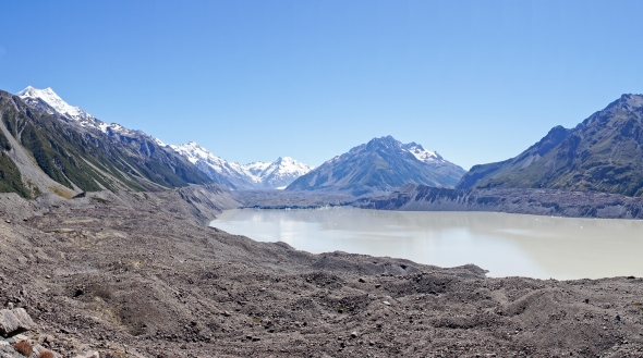 Tasman Glacier, Lake and Moraine, Aoraki Mt Cook, New Zealand, Copyright Chris Gregory 2013