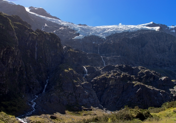 Waterfalls and Rob Roy Glacier, Otago, New Zealand, Copyright Chris Gregory 2013