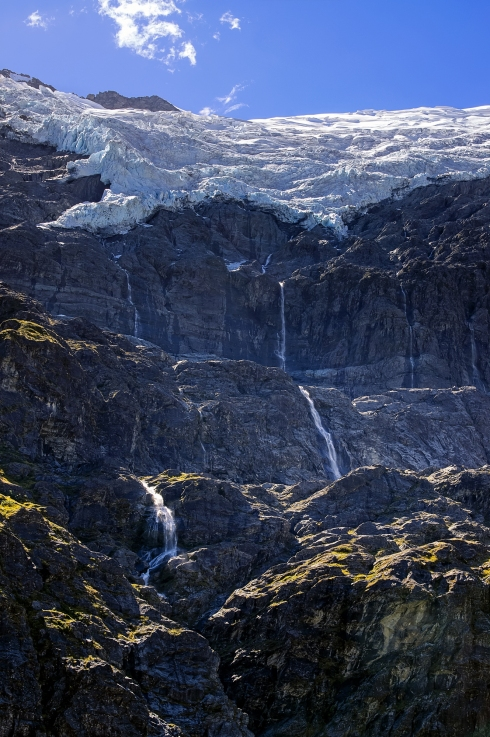 Waterfalls, Rob Roy Glacier, Otago, New Zealand, Copyright Chris Gregory 2013