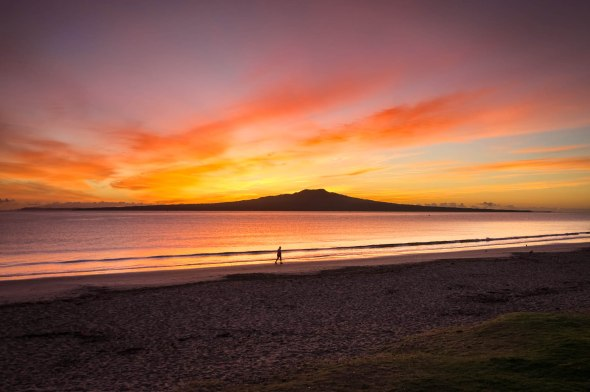 Autumn Sunrise, Takapuna Beach, Auckland, New Zealand, Copyright Chris Gregory 2013