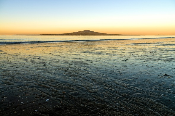 Evening Glow, Takapuna Beach, Rangitoto Island, Auckland, New Zealand, Copyright Chris Gregory 2013