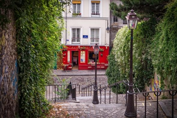 Paris, Rue du Calvaire, Chez Marie, restaurant, Rue Gabrielle, Montmartre, France